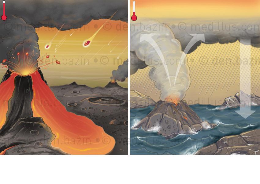La Terre à -4,4 et à -4 Milliards d'années