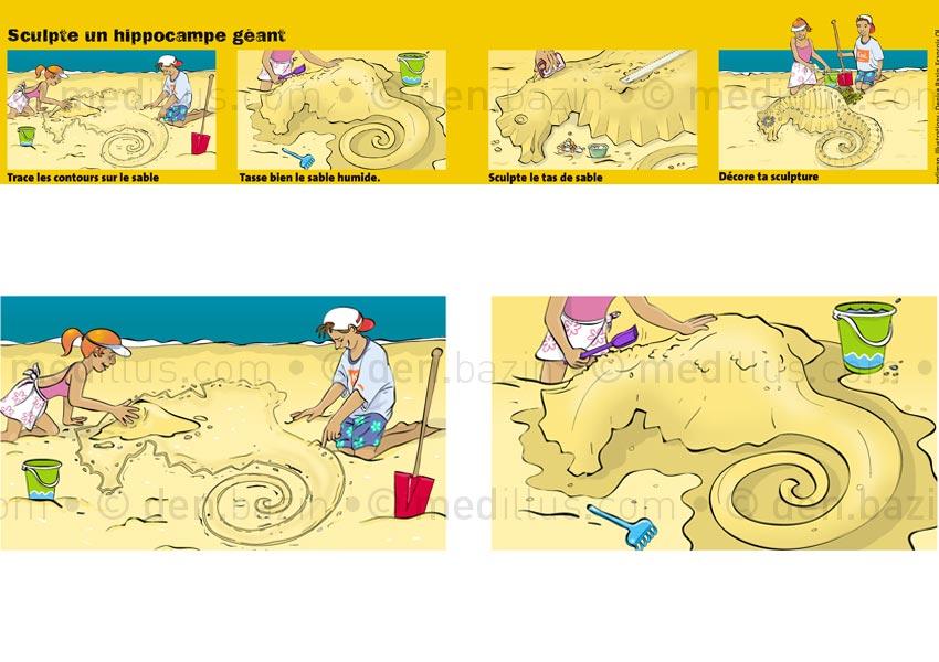 Réaliser un hippocampe en château de sable