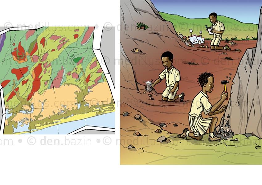 Carte géologique et sortie scolaire pour prélèvements