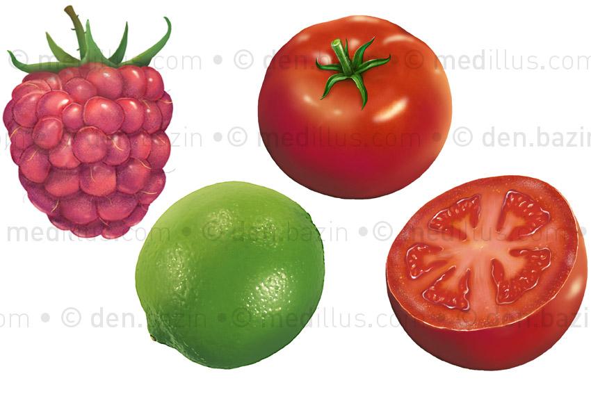 Framboise, citron vert, tomates